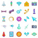 Progressive technology icons set, cartoon style Stock Photo