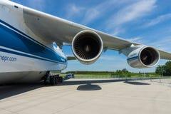 Progresso D-18T de Ivchenko dos turbojatos de um avião de jato Antonov An-124 Ruslan Imagens de Stock