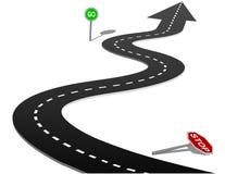 Progresso del segno di traffico a singhiozzo della curva della strada principale di successo Fotografie Stock Libere da Diritti
