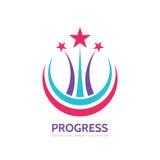 Progresso - ilustração do conceito do molde do logotipo do vetor O sumário stars o sinal criativo Símbolo do fogo de artifício El Foto de Stock