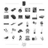 Progresso, realizações, turismo e o outro ícone da Web no estilo preto lazer, negócio, ícones da tecnologia na coleção do grupo ilustração royalty free