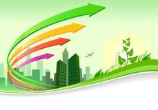 Progresso verde della città - disegno dell'opuscolo Fotografie Stock