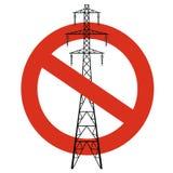 Prohibición de líneas eléctricas Prohibición estricta en la construcción de pilones eléctricos Pare la precaución de la electrici Imágenes de archivo libres de regalías
