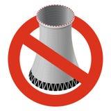 Prohibición de la central nuclear La prohibición estricta en la construcción de la torre de enfriamiento atómica, prohíbe Fotos de archivo