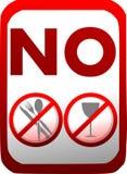 Prohibición de la introducción de comida y de bebidas en rojo aisladas stock de ilustración