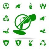 prohibición del icono verde de las descargas sistema universal de los iconos de Greenpeace para el web y el móvil libre illustration