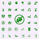 prohibición del icono verde de las emisiones dañinas sistema universal de los iconos de Greenpeace para el web y el móvil libre illustration