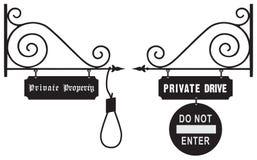 Prohibición del vintage del viaje a la propiedad privada stock de ilustración