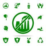prohibición en emisiones del icono verde de las plantas sistema universal de los iconos de Greenpeace para el web y el móvil libre illustration