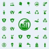prohibición en emisiones del icono verde de las plantas sistema universal de los iconos de Greenpeace para el web y el móvil stock de ilustración