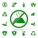 prohibición en icono del verde de los desperdicios sistema universal de los iconos de Greenpeace para el web y el móvil stock de ilustración