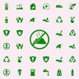 prohibición en icono del verde de los desperdicios sistema universal de los iconos de Greenpeace para el web y el móvil ilustración del vector