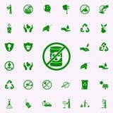 prohibición en icono verde de las sustancias venenosas sistema universal de los iconos de Greenpeace para el web y el móvil stock de ilustración