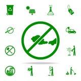 prohibición en los gases del icono verde de los coches sistema universal de los iconos de Greenpeace para el web y el móvil stock de ilustración