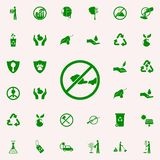 prohibición en los gases del icono verde de los coches sistema universal de los iconos de Greenpeace para el web y el móvil ilustración del vector