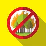 Prohibición Forest Fires Vector Sign - cartel Fotografía de archivo