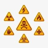 Prohibicja podpisuje ustalonej przemysł produkci niebezpieczeństwa wektorowego żółtego czerwonego ostrzegawczego symbol zakazując ilustracji