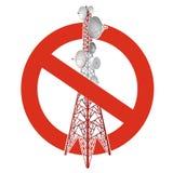 Prohibicja satelity wierza Surowy zakaz na budowie przekazu wierza pilony Zdjęcie Royalty Free