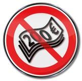 Prohibicja znak dla 200 euro notatek Fotografia Royalty Free