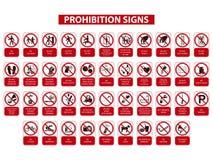 Prohibicja znaki Zdjęcia Stock