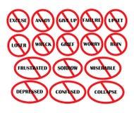 Prohibicja znaki o negatywnych myślach Obrazy Stock