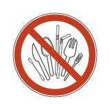 Prohibicji szyldowa ?y?ka, rozwidlenie, n??, kociuba, s?oma, bawe?na p?czek U?ywa plastikowego cutlery Zakazu klingerytu set royalty ilustracja