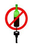 Prohibir símbolo de la conducción borracha Imágenes de archivo libres de regalías