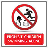 Prohibit children swimming alone sign vector. Illustration Stock Photo