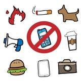 Prohibit signs drawing cartoon. Vector Royalty Free Stock Photos