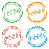 Prohibited badge isolated on white background. Flat style round label with text. Circular emblem vector illustration Stock Photography