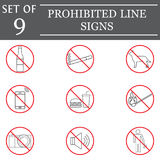Prohibited color line icon set, red forbidden sign Royalty Free Stock Photography