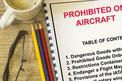 Prohibited goods onboarding a flight concept. With topics on a cover sheet Stock Photography