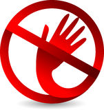 Prohibited hand logo Stock Photo