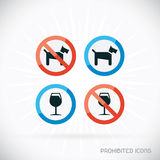 Prohibited Icons Illustration. With Gray Background Stock Photo