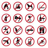 Prohibited icons set. In black Royalty Free Stock Images
