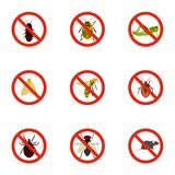 Prohibited insects icons set, flat style Royalty Free Stock Photos