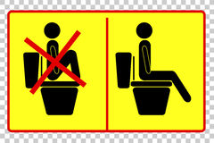 Prohibited and Instruction Sign at Toilet Stock Image