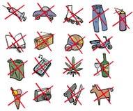 Prohibited items. With advisory cross Royalty Free Illustration