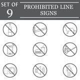 Prohibited line icon set, forbidden symbols Stock Photo