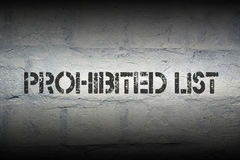 Prohibited list Royalty Free Stock Photography