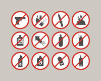 Prohibited luggage items. Airport restrictions. Dangerous stuff for airplane. Royalty Free Stock Photos