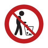 Prohibited man throwing trash can sign road Royalty Free Stock Images