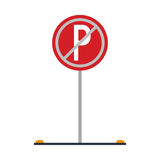 Prohibited parking car sign traffic Stock Photo