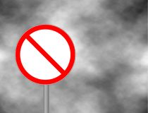 Prohibited Red Circle Metallic Border Road Sign. No sign isolated on grey sky background. Empty red crossed out circle. Vector bla Stock Images