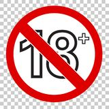 Prohibited sign, for 18 and above, at transparent effect backgrund. Vector prohibited sign, for 18 and above, at transparent effect backgrund vector illustration