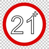 Prohibited sign, for 21 and above, at transparent effect backgrund stock illustration