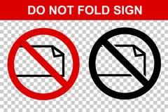 Prohibited Sign, Do Not Fold, at Transparent Effect Background stock illustration