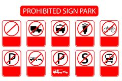Prohibited Sign at Park Area, Just add Local or International Text Stock Photography