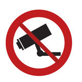 prohibited sign road camera surveillance security Stock Image