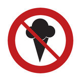 prohibited sign road ice cream sweet frozen Stock Images